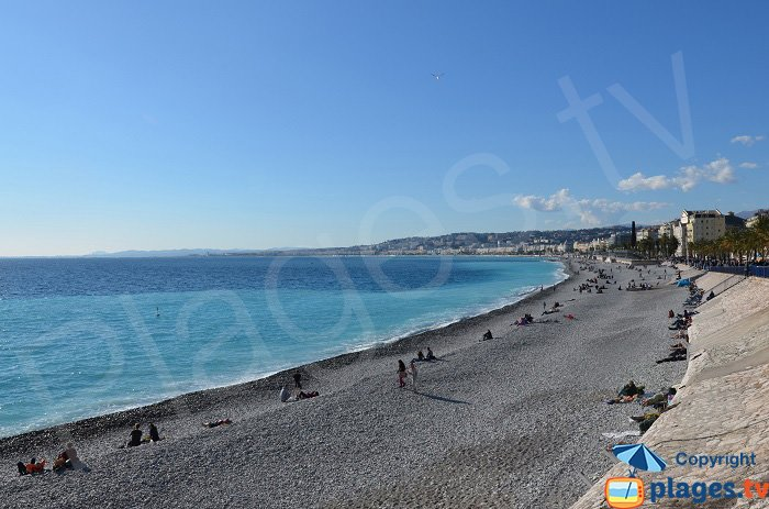 Large pebbles on the beaches of Nice in France