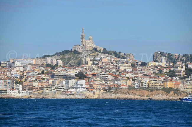 View of Notre-Dame-de-la-Garde from the sea - Marseille - France