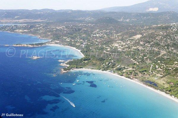Sud de la plage de Palombaggia en vue aérienne