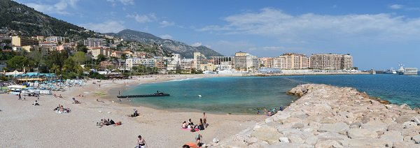 Cap d'Ail beach and view on Monaco