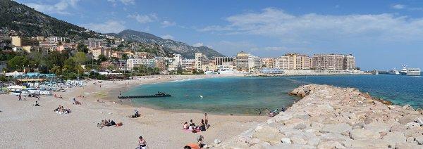 Cap d'Ail beach and view on Monaco