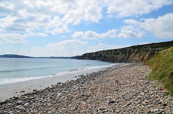 Photo de la plage de l'Aber avec vue sur le Cap de la Chèvre - presqu'ile de Crozon