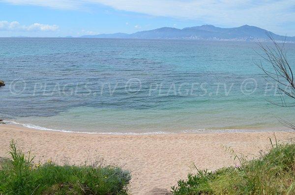 Plage d'Agosta dans le golfe d'Ajaccio avec vue sur les iles sanguinaires