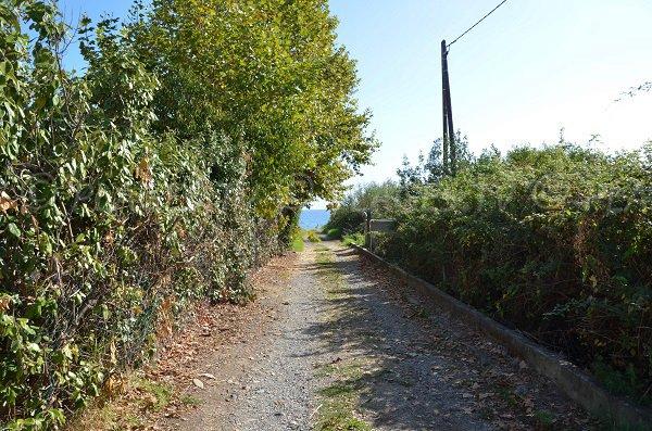 Sentier d'accès à la plage d'Alba Serena en Corse