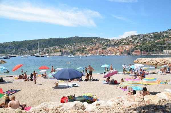 Villefranche sur Mer beach and view on the citadel