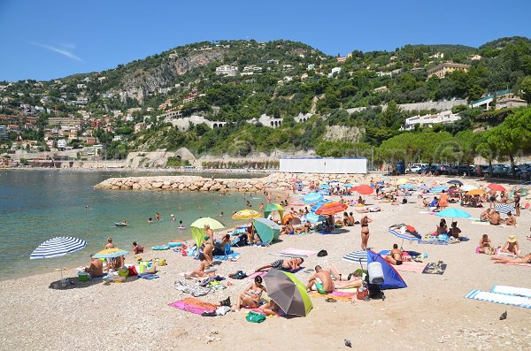 Beach in august in Villefranche sur Mer in France