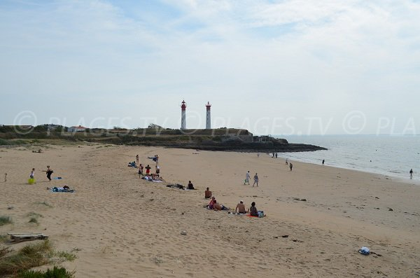 View on lighthouses of the beach in the center of the village of the island of Aix