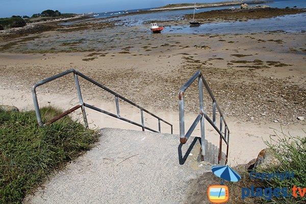 Escaliers de la plage d'Aod ar Reun à Plouguerneau