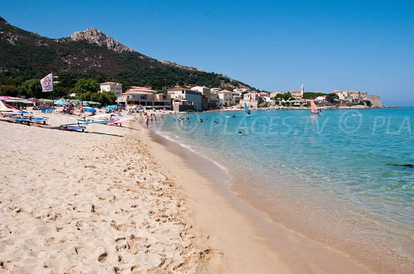 Algajola beach and view on citadel - Corsica