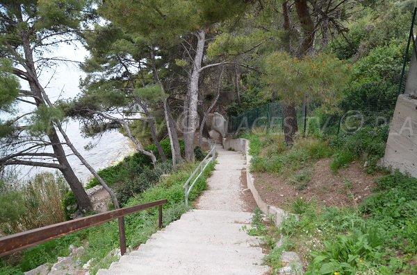 Accès à la plage de l'Arène à Cassis