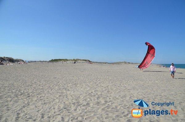 zona riservata al kitesurf sulla spiaggia nord - St Cyprien