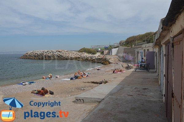 Partie nord de la plage du Bain des Dames de Marseille