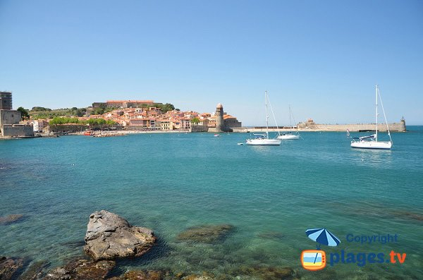 Balette beach and view on Collioure