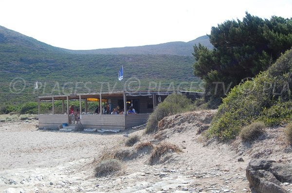 Paillote sur la plage de Barcaggio