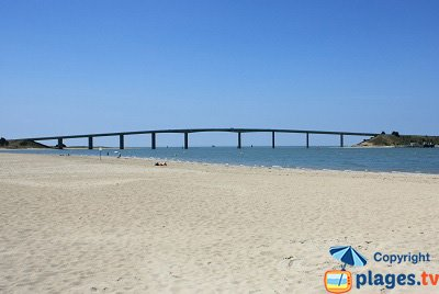 La Barre de Monts beach with bridge of Noirmoutier
