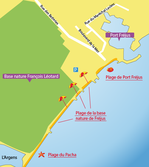Carte de la plage de la base nature de Fréjus