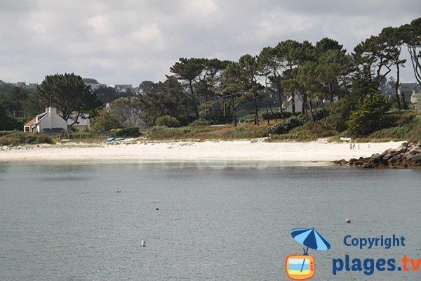 plage de Bassinig à Plouguerneau depuis la mer
