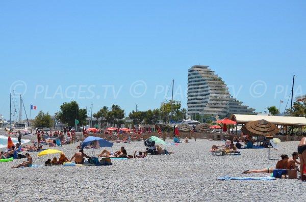 Beach in Villeneuve-Loubet in summer
