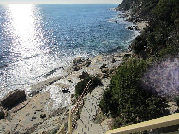 Access to Bau Rouges beach in Carqueiranne