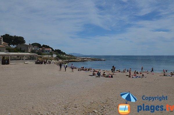 Vue Globale de la plage publique des Baumettes à Sausset les Pins