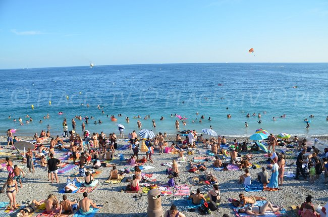 Beau Rivage beach in Nice in summer