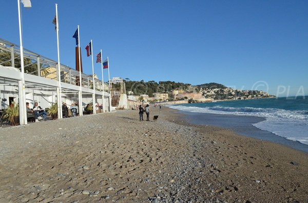 Private beach Beau Rivage in winter in Nice