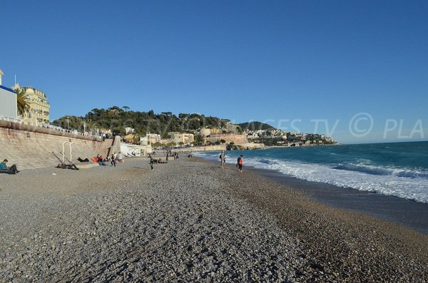 Photo of the Beau Rivage beach in winter in Nice