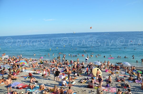 Photo of the Beau Rivage beach in Nice in summer