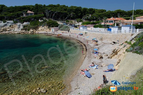 Beaucours beach in summer in Sanary sur Mer