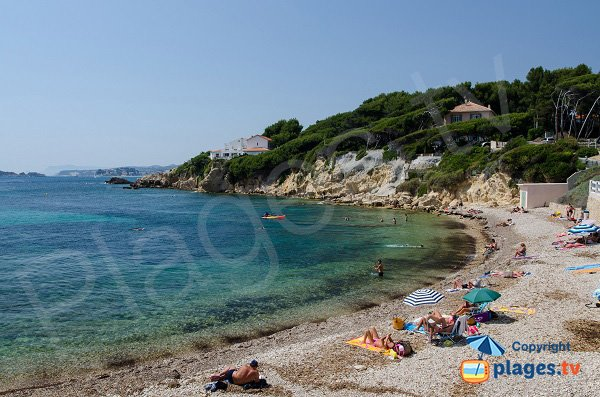 Beaucours beach with view on point of Tourette - Sanary