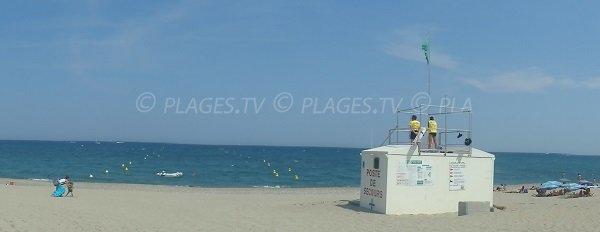 Photo de la plage d'Elne avec les deux zones