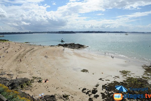 Bon Secours beach and view on Dinard bay