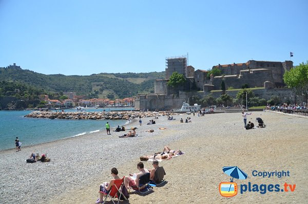 Collioure Beach next Royal Castle