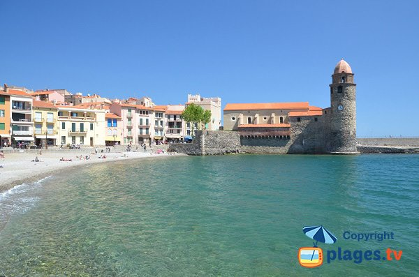Boramar beach in Collioure with Notre Dame des Anges