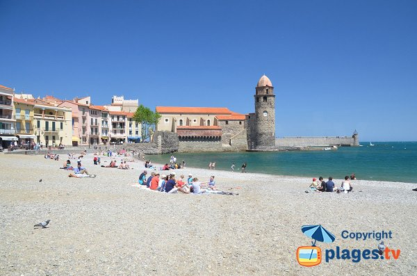 Photo de la plage de Boramar à Collioure