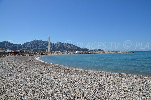 Plage de galets sur le prado de Marseille