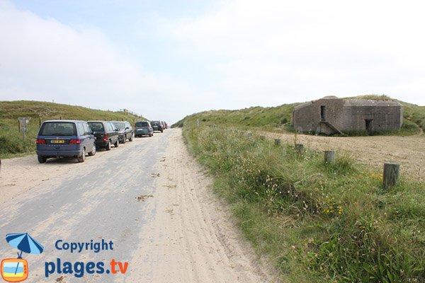 Parking de la plage d'Audouville la Hubert - Manche