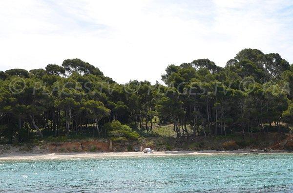 Extrémité de la plage de Brégançon dans le Var