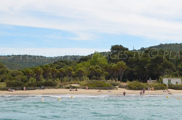 Cabasson beach in Bormes les Mimosas - view from the sea