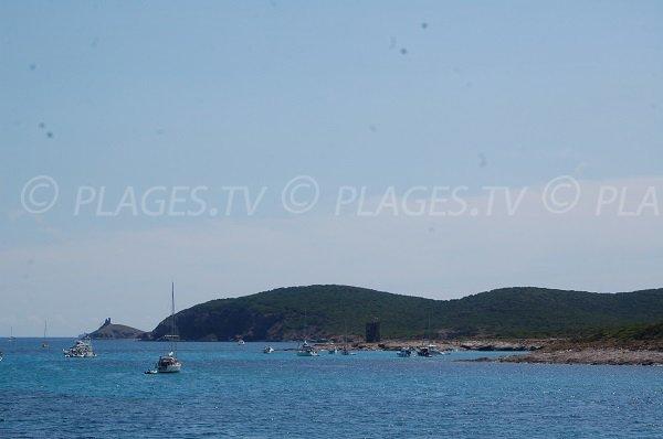Vue sur la tour Santa Maria et les Iles Finocchiarola depuis la plage de la Cala Francese