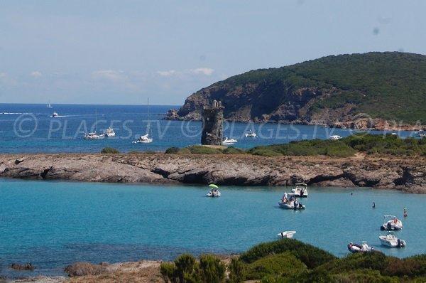 Tour Santa Maria vue depuis la plage de la Cala Genovese