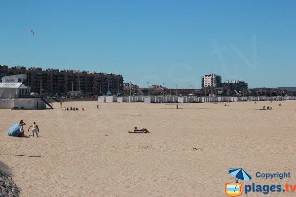 bathing hutson the Calais beach in France