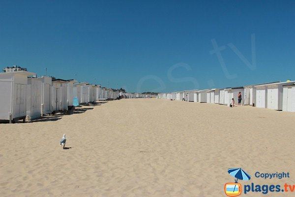 Allée de chalets sur la plage de Calais