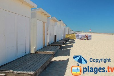 Chalets on the Calais beach in France