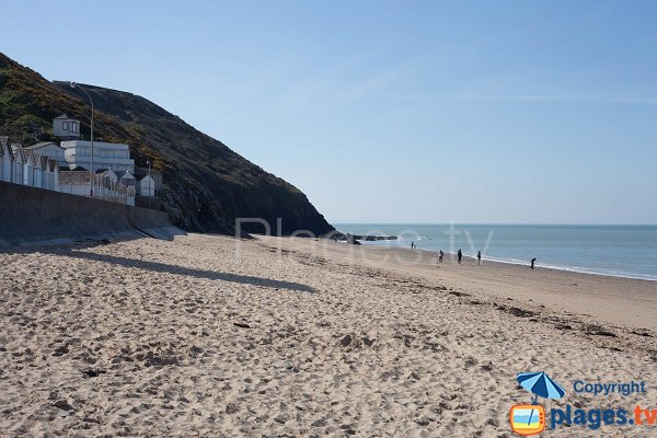 Huts, cliffs and beach of Carolles - Normandy
