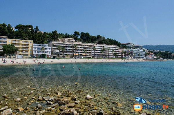 Beach in Bandol and view on Sanary sur Mer