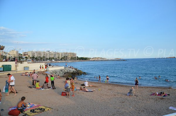 Sand beach in St Raphael near the Casino
