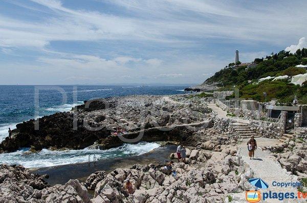 Photo de la plage au niveau de la pointe de la Causinière du Cap Ferrat