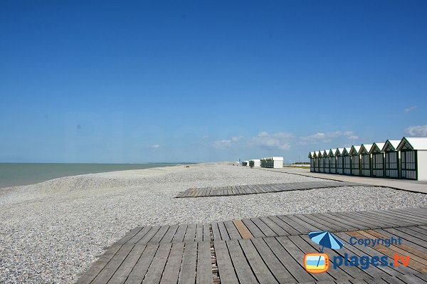 Huts on the Cayeux beach in France