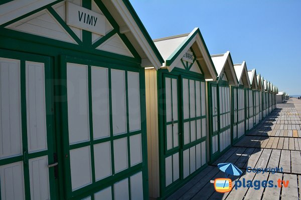Green bathing huts in Cayeux in France